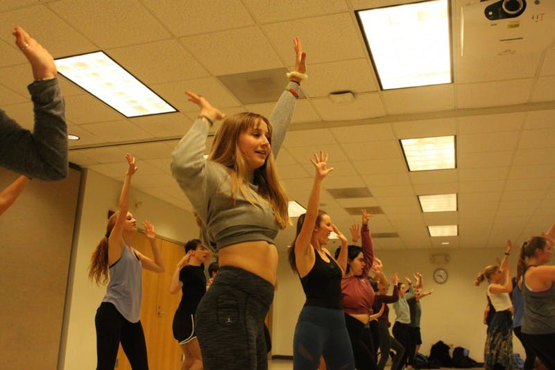 Students rehearse choreography to Voulez-Vous by Abba at the Mamma Mia auditions in the Student Union on Thursday, Jan. 10, 2019.