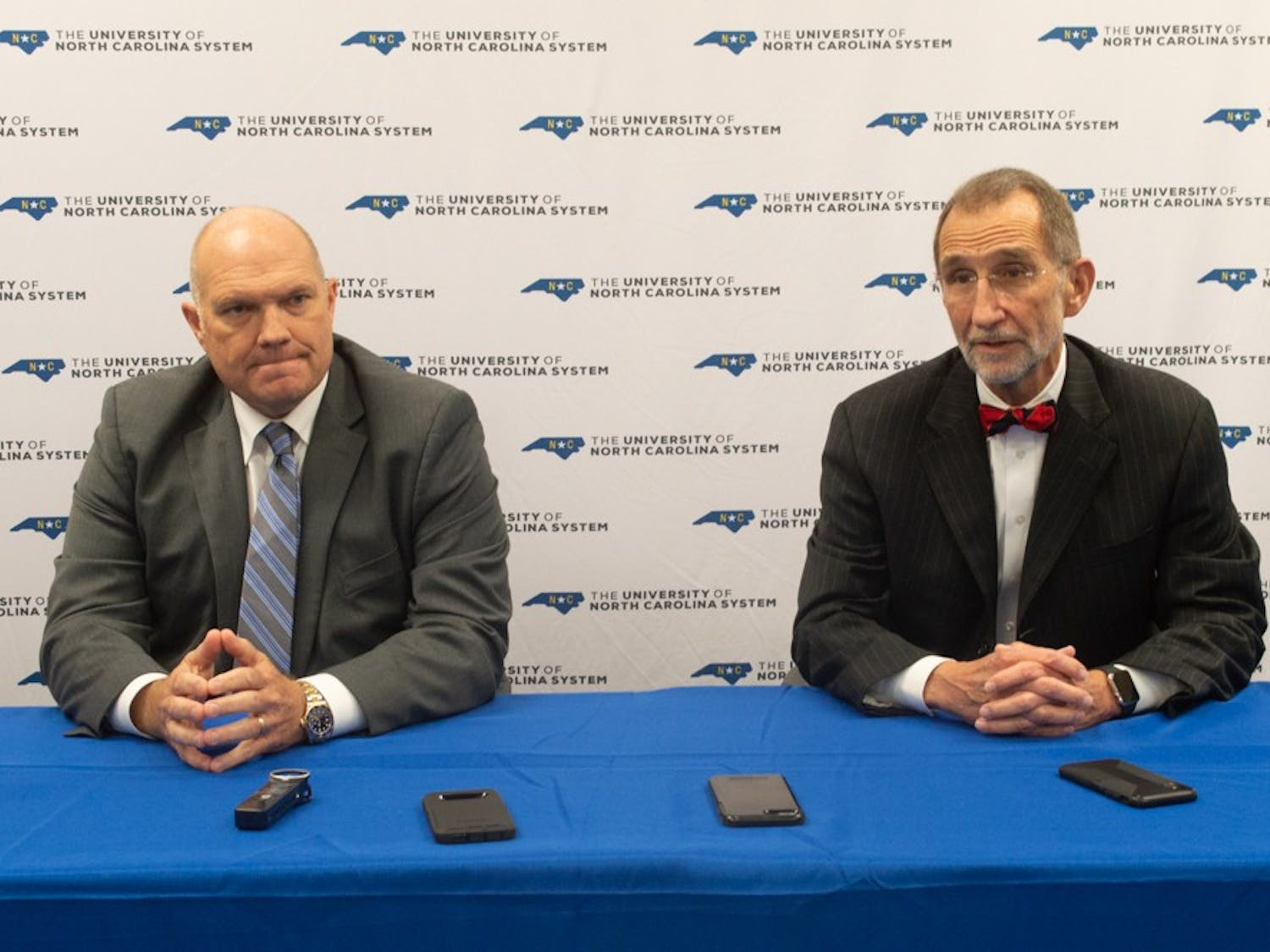 Chair person of the board Harry Smith Jr. and Interim President Bill Roper answer questions after the UNC system Board of Governors meeting.