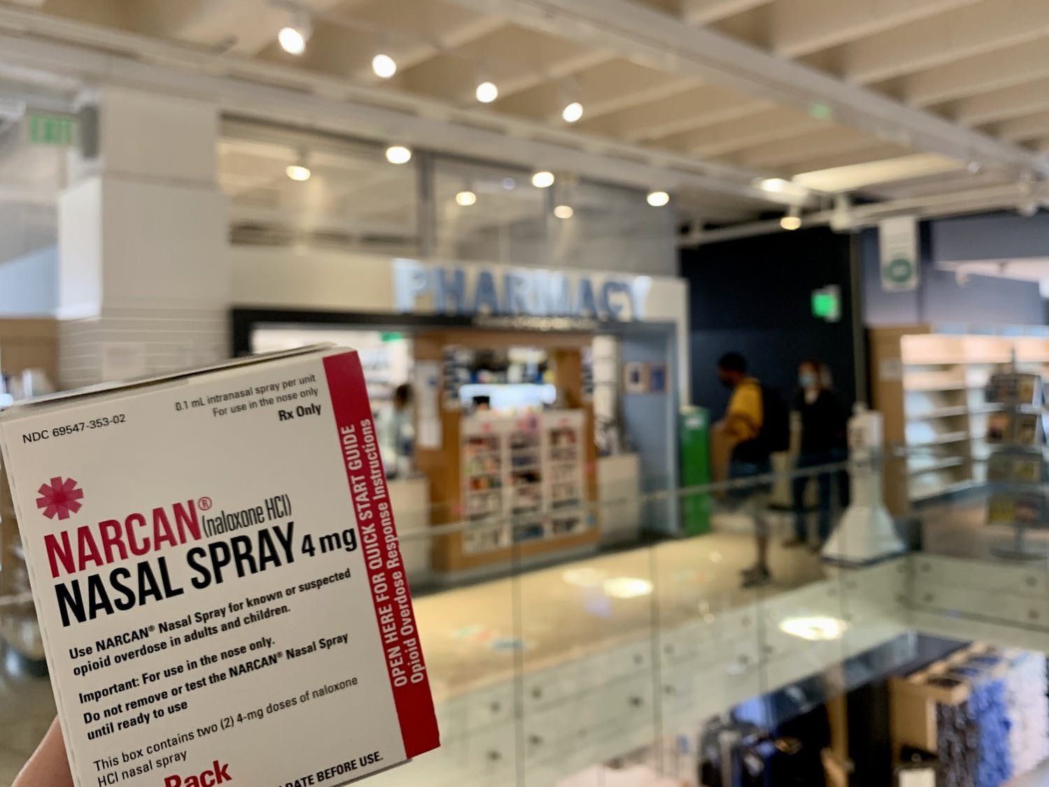 NARCAN Nasal Spray is available for free at the pharmacy in the Student Stores.