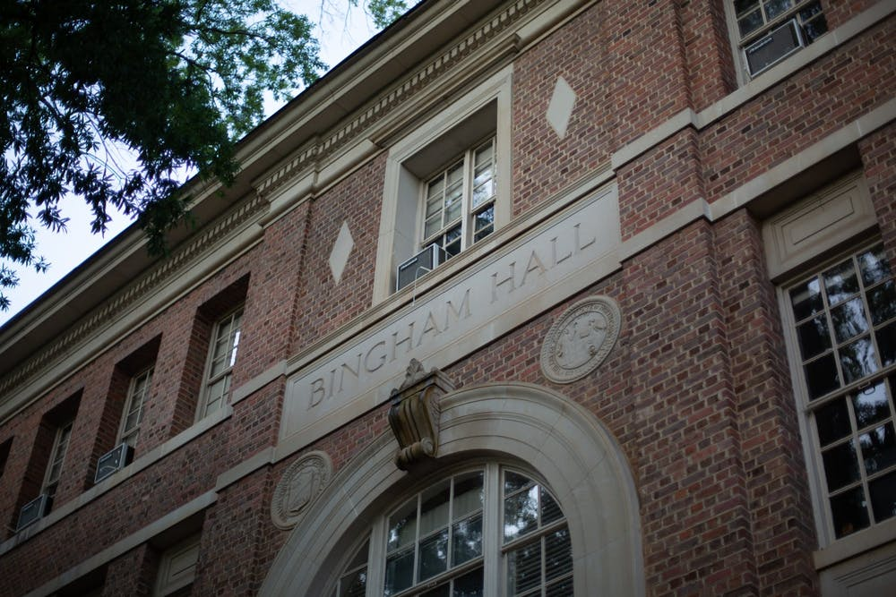<p>Bingham Hall sits on the edge of the Quad on Sunday, Sept. 13, 2020. The UNC Commission on History, Race, and A Way Forward met virtually on Sept. 10&nbsp; to discuss the changing the name of three campus locations: Ruffin Residence Hall, Bingham Hall and Barbee Cemetery.&nbsp;</p>