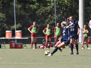 Sophomore forward Alessia Russo (19) takes a free kick during the team's 5-1 win over Louisville at WakeMed Soccer Park on Sept. 29.