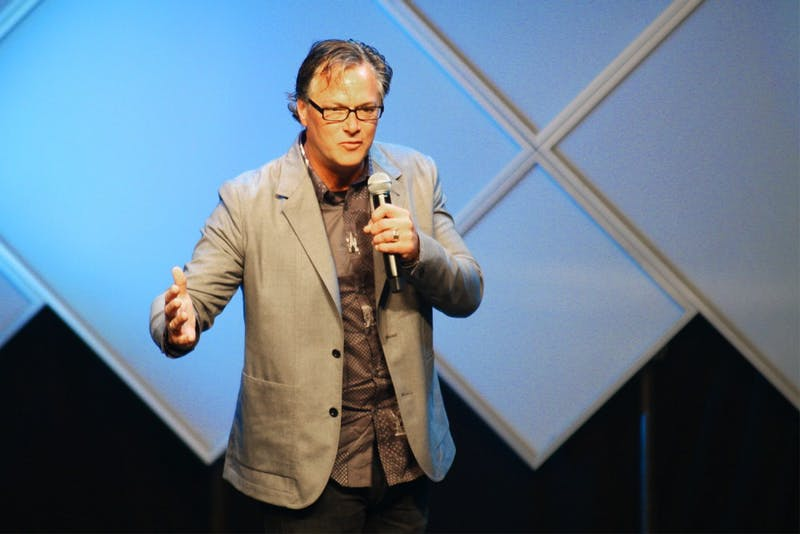 Nike Vice President and Creative Director Todd Van Horn helped present the UNC's athletic rebranding during the 2015 Rammy's in Carmichael Arena.