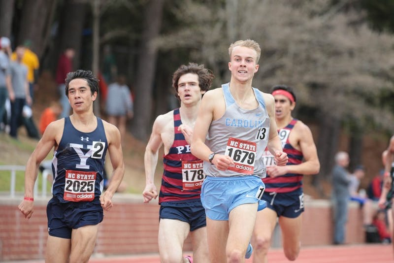 Redshirt first-year Alex Milligan runs in the 1,500-meter at the Raleigh Relays on March 30.