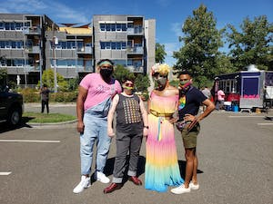 From left to right, LGBTQ Youth Center Program Director Freddy Perkins, Host Home Program Director KC Buchanan, Program Coordinator Hunter and Co-chairperson for Pride: Durham NC Jesse Huddleston celebrate Pride in Durham on Sept. 25.