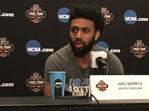 North Carolina guard Joel Berry speaks with the media inside University of Phoenix Stadium on Friday. Berry is expected to play in the Final Four against Oregon after injuring both his ankles earlier in the tournament.