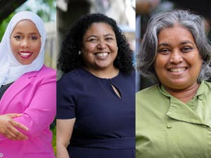 Paris Miller-Foushee, Camile Berry and Vimala Rajendran are newcomers running for a seat on the Chapel Hill Town Council. Photos courtesy of Paris Miller-Foushee, Camille Berry and DTH File.