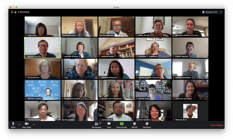 A screenshot of the Administrative Board of the Graduate School meeting held via Zoom on Tuesday, April 21, 2020.