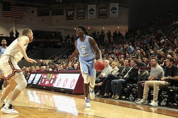First-year Nassir Little (5) helped UNC beat Elon 116-67 at the Schar Center at Elon.
