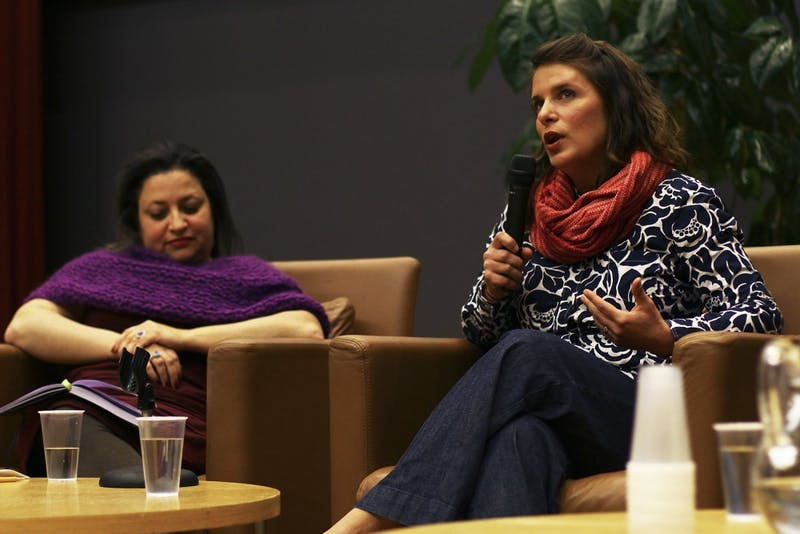 Vivian Howard (right), star and producer of A Chef's Life on PBS, speaks Saturday night during the keynote panel at the State of the Plate conference. The show chronicles Chef & The Farmer, a restaurant Howard and husband Ben Knight own in Kinston, NC.