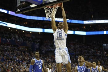 Sophomore forward Garrison Brooks (15) dunks against Duke during the semifinals of the ACC Tournament at the Spectrum Center in Charlotte, N.C. on Friday, March 15, 2019. UNC fell to Duke 73-74.
