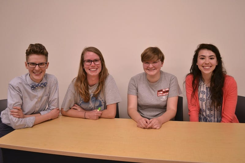 The panel coordinator, grad student Rae Jodrey with Adeline Dorough '16, Auden Tibbetts '19, and Madeline Ray '18 spoke about their non-visible disabilities on Thursday, April 14.
