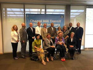 Local and state officials met to celebrate Chapel Hill Transit's 45th birthday on Thursday, Sept. 4 at the Chapel Hill Public Library.