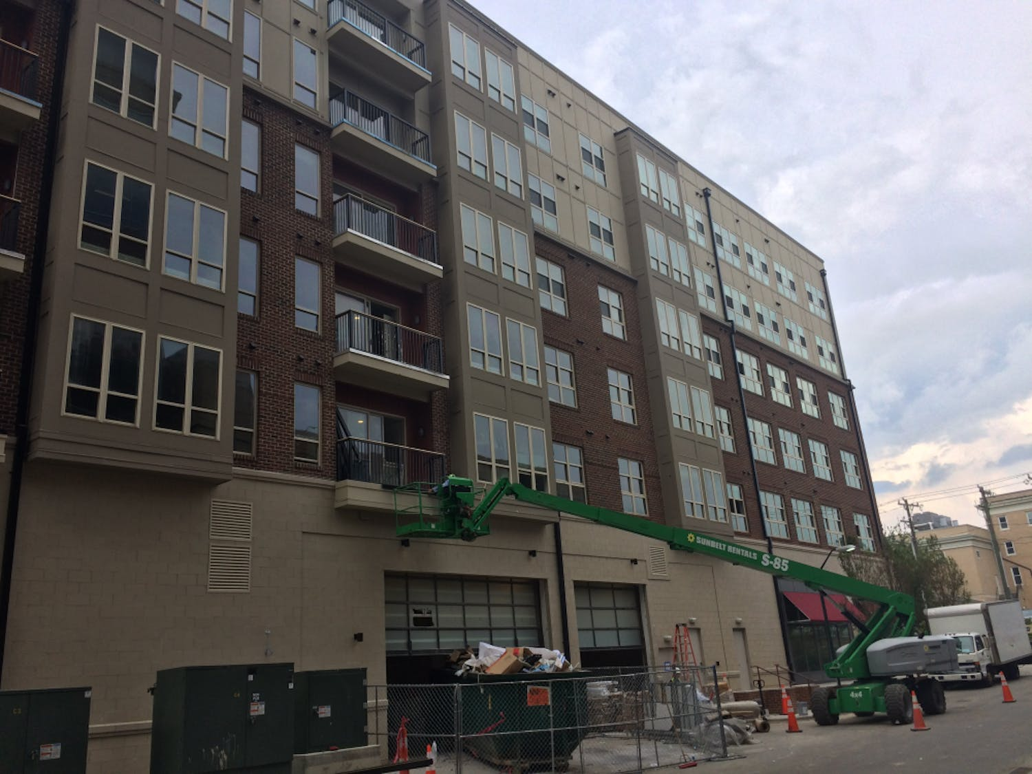 A man fell in an unfinished portion of the Carolina Square development, which includes the recently-opened Target. The image does not depict the exact location of the fall.
