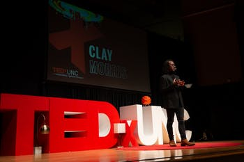 Clay Morris, a first-year Morehead-Cain scholar studying political science and media and journalism, spoke about race at TEDxUNC on Saturday, Feb. 15, 2020.  Photo courtesy of Angelina Katsanis.