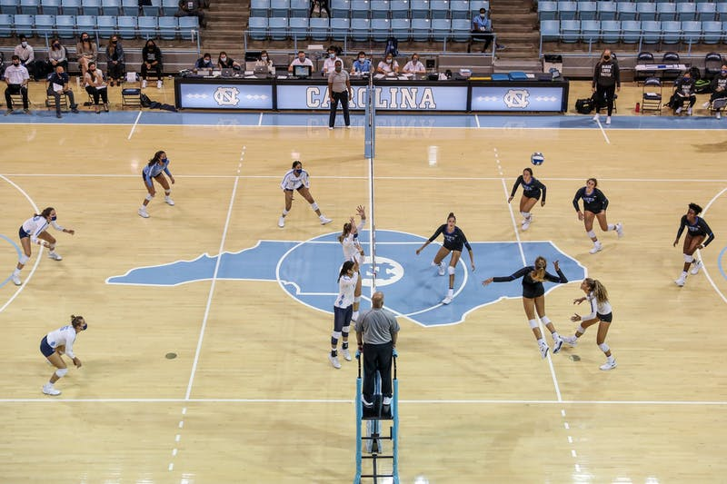 The UNC Tar Heels and Duke Blue Devils play in Carmichael Arena on Oct. 9, 2020. The Tar Heels beat the Blue Devils 3-1.
