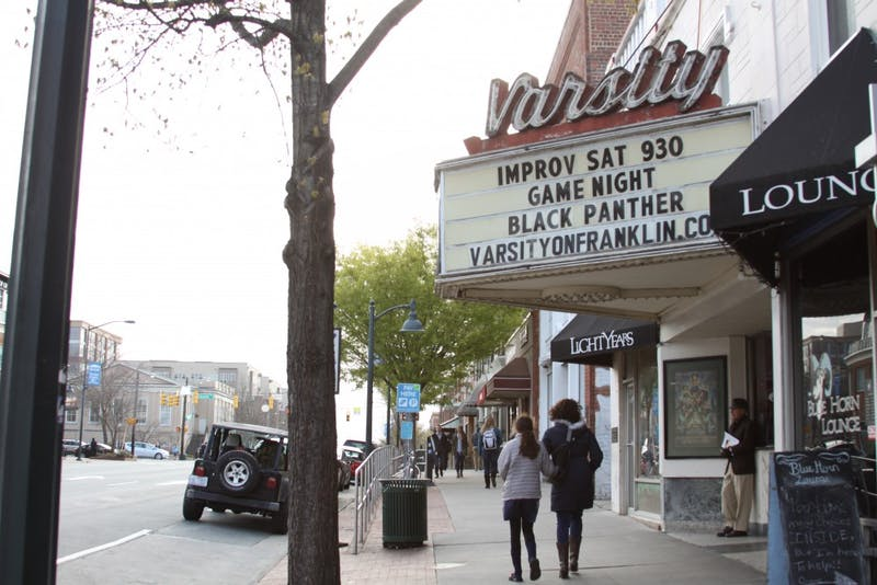 Black Panther, a recent blockbuster hit, is now showing at the Varsity movie theater on Franklin Street.