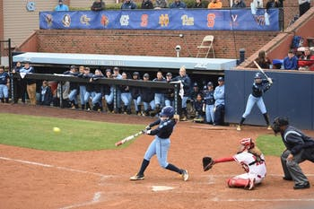 Campbell Hutcherson (5) swings against Wisconsin on Feb. 17 in Anderson Stadium.