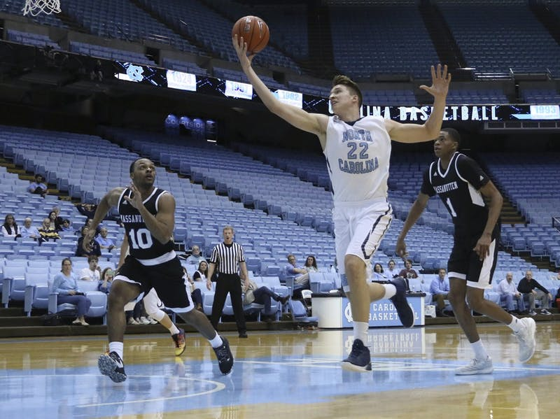 North Carolina forward Devin Dukes (22) grabs a long pass against Massanutten on February 22nd.