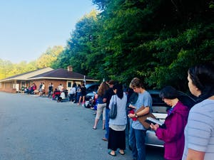 Photo contributed by Mary Parry. Long lines at DMVs throughout the Triangle are causing visitors to wait up to 8 hours.