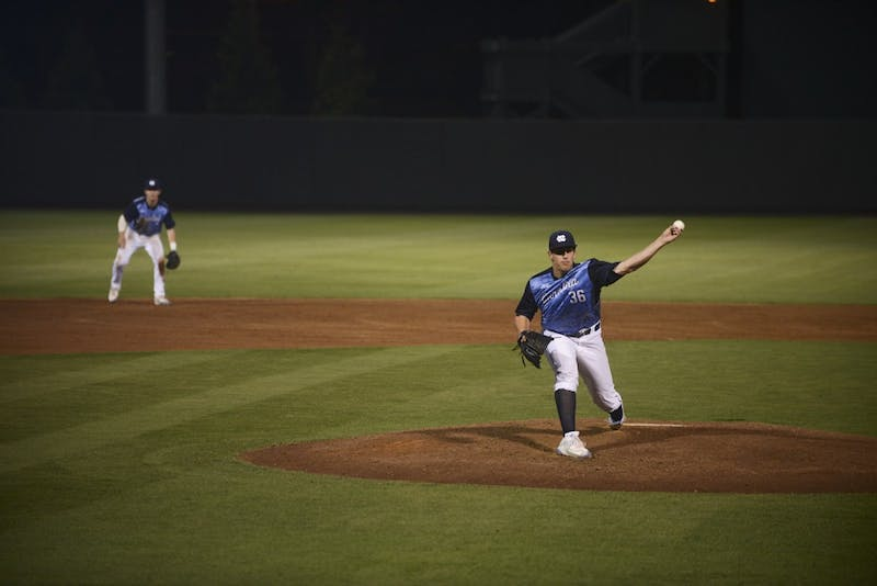 UNC freshman LHP Hunter Williams (36) had 5 Ks and only gave up 3 hits in 5 and 2/3 innings of work (until rain delay) against High Point on Tuesday.