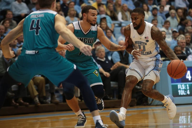 Junior guard Seventh Woods (0) moves to the basket during the game against UNCW on Wednesday, Dec. 5, 2018 in the Smith Center. UNC won 97-69.