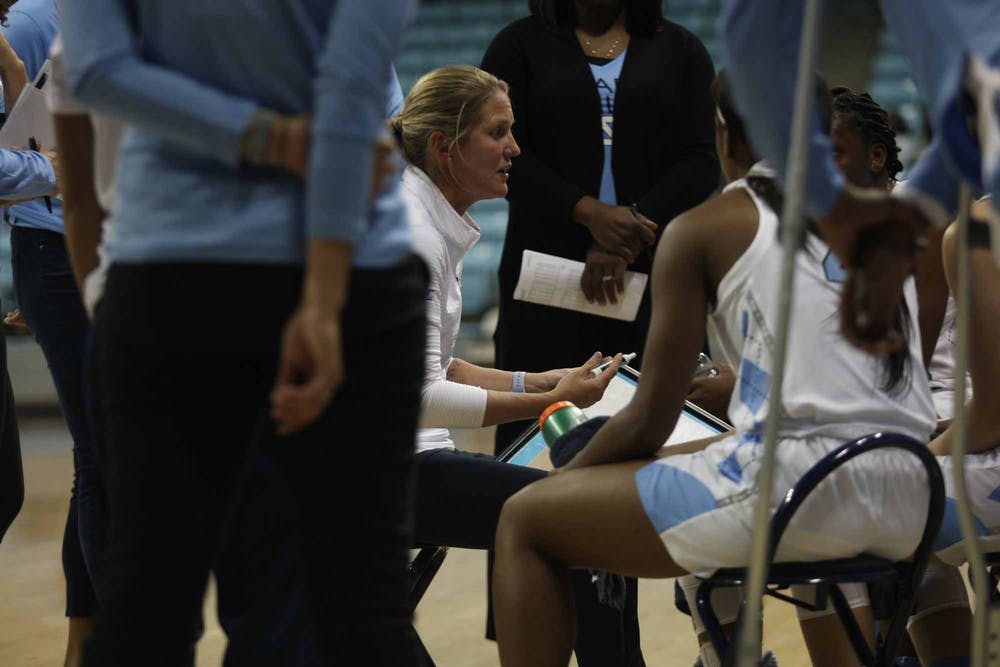 Head Coach Courtney Banghart talks to players during a time-out at exhibiton game against Wingate in the Charmichael Arena on Saturday, Nov. 2, 2019. UNC won 82-37.