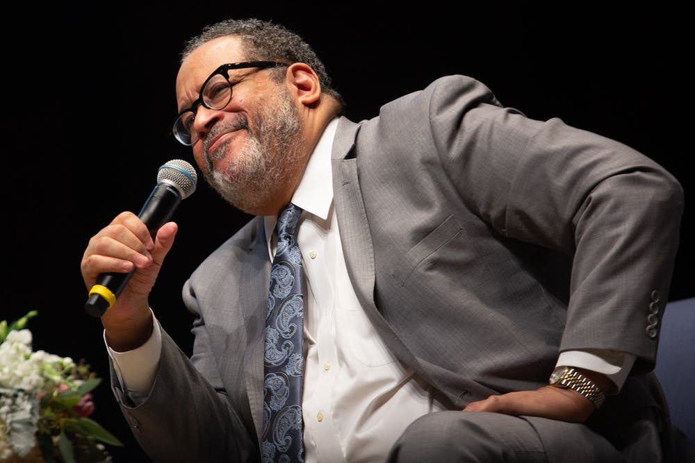 <p>Michael Eric Dyson, a Georgetown University sociology professor and principal lecturer at the event, speaks at UNC's 39th Annual Martin Luther King Jr. Keynote Lecture and Award Ceremony on Wednesday, Jan. 22, 2020.</p>