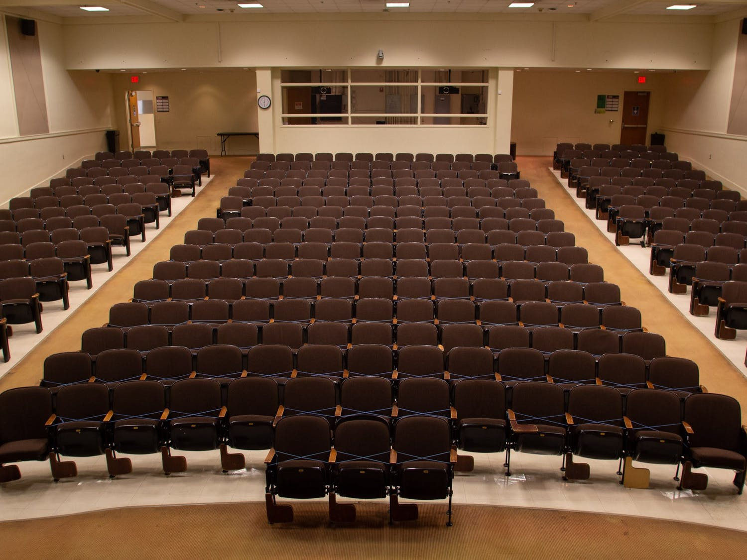 A lecture hall in Carrol Hall on Nov. 11, 2020 has 75% of the marked off with tape to ensure that social distancing guidelines can be met once in-person classes resume.
