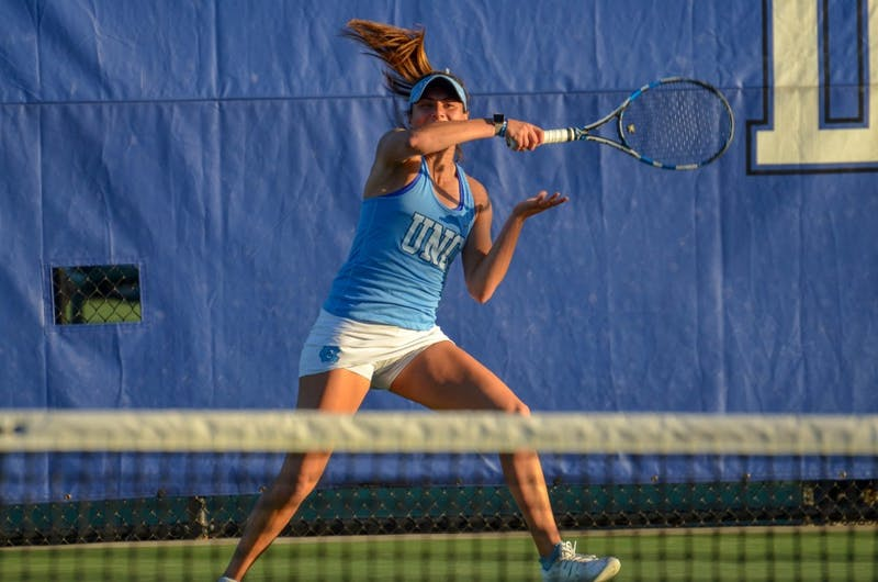 Sophomore Alexa Graham returns a serve against Duke on April 20 at the Ambler Tennis Center  in Durham.