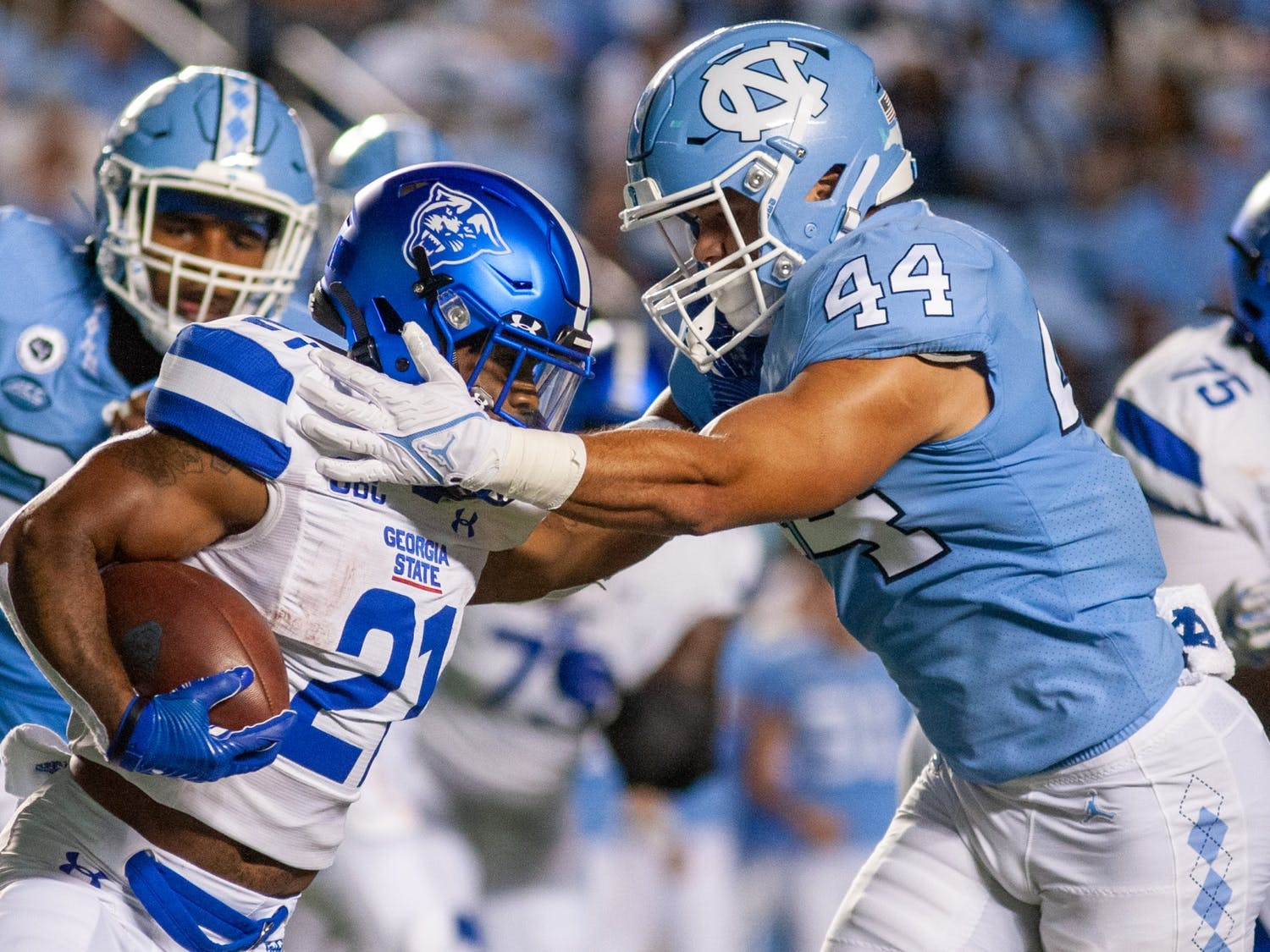 UNC football triumphed over the Georgia State Panthers 59-17 in a home matchup on Sept. 11, 2021. The match was the Tar Heels' first home game of the season and the first home football game at full capacity since the beginning of the COVID-19 pandemic.