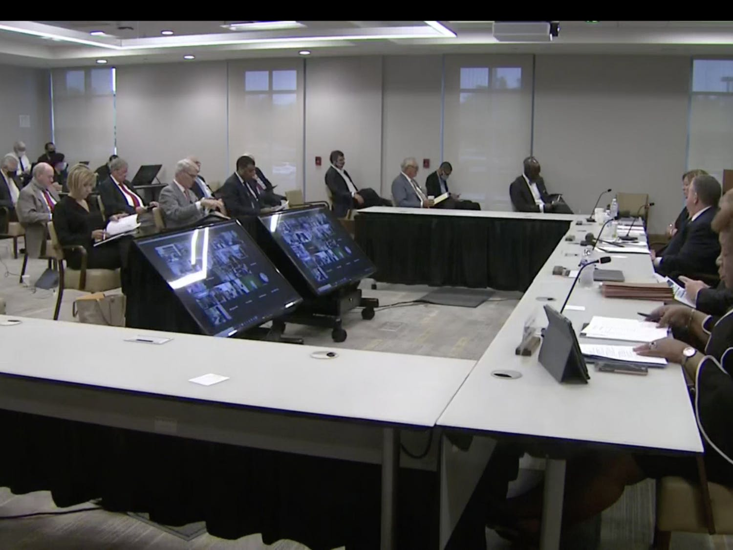 Members of the UNC Board of Governors met in person and via Zoom on Thursday, Sept. 17, 2020.