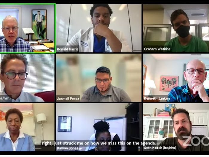 The History, Race, and A Way Forward virtual meeting is screenshotted on Aug. 30.