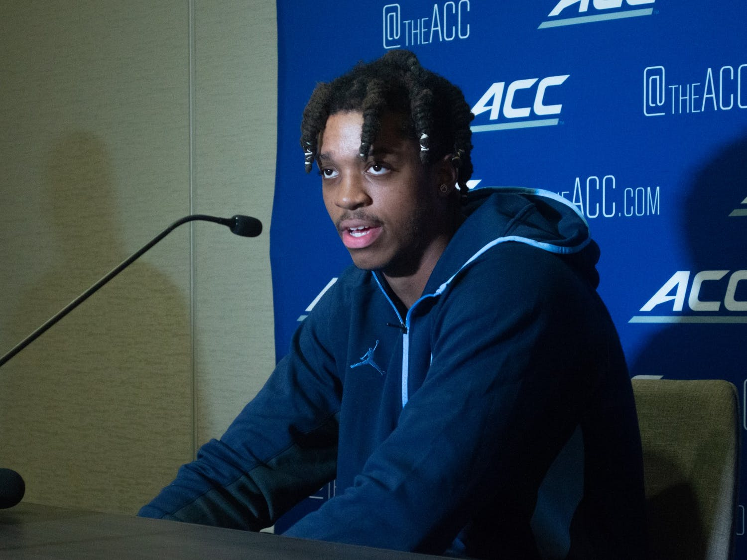 UNC junior forward/center Armando Bacot speaks to the media at the 2021 ACC Men's Basketball Tipoff in Charlotte, NC on Oct. 12.
