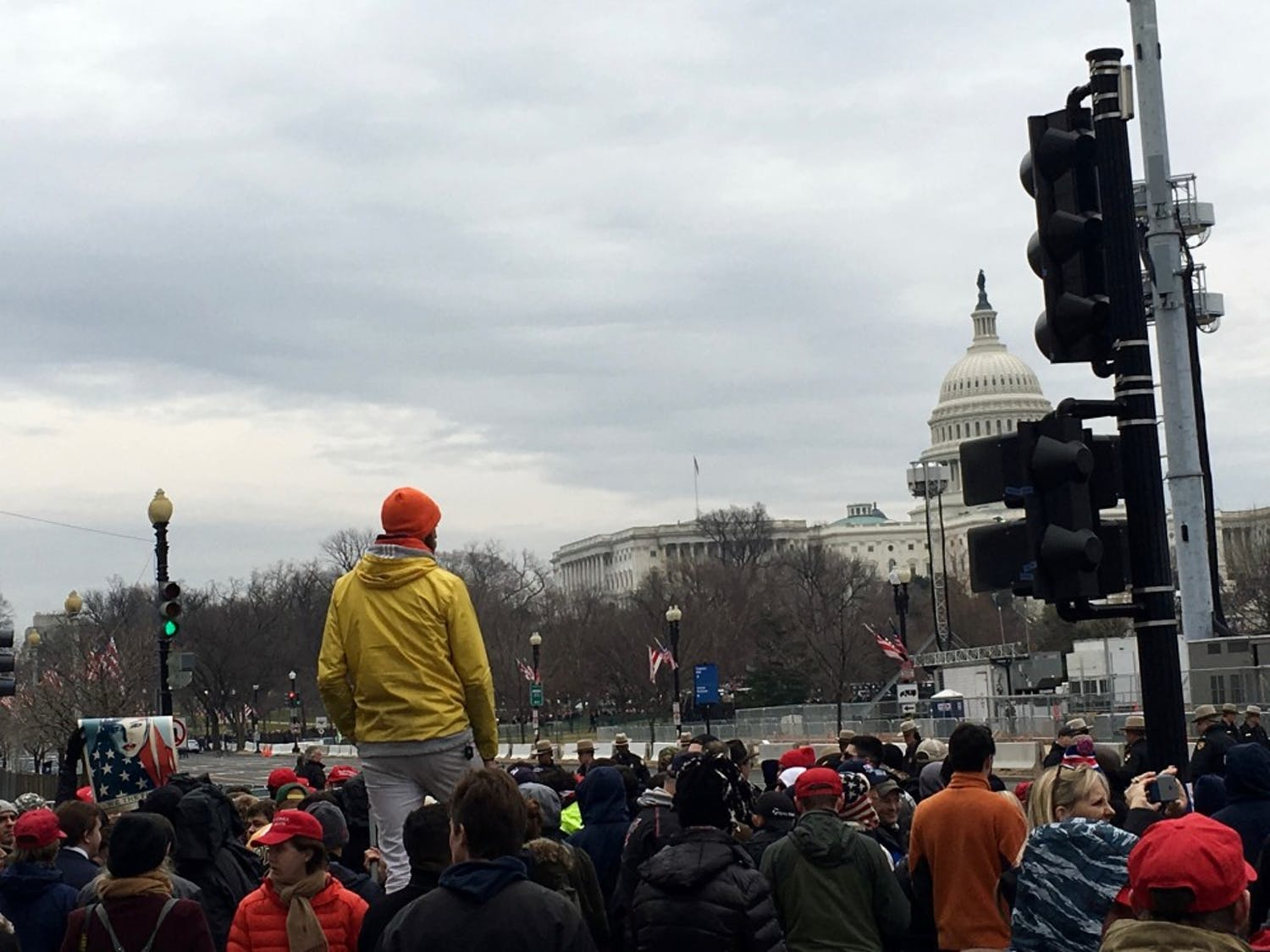 The crowd anticipates the inauguration of President Donald Trump across the street from the U.S.Capitol Building.