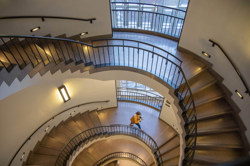 A peek down the spiral staircase of Koury Auditorium, where the Kenan-Flagler Business School will celebrate its centennial with a time capsule event on Thursday, Dec. 5, 2019 from 12 to 1 p.m.