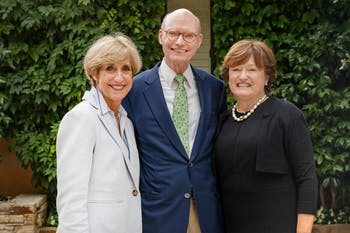 Walter Hussman and his wife, Ben, meeting with Dean Susan King at their home on Aug. 6, 2019. The School of Media and Journalism will be known as the Hussman School of Journalism and Media following a $25 million gift from Walter and Ben Hussman. Photo courtesy Johnny Andrews/UNC-Chapel Hill.