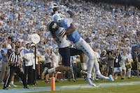 UNC wide receiver Bug Howard catches the game winning touchdown with two seconds remaining in regulation against Pittsburgh.