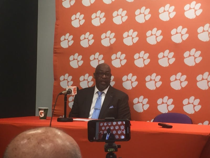UNC assistant coach Steve Robinson addresses the media in his postgame press conference at Littlejohn Coliseum on March 2, 2019.
