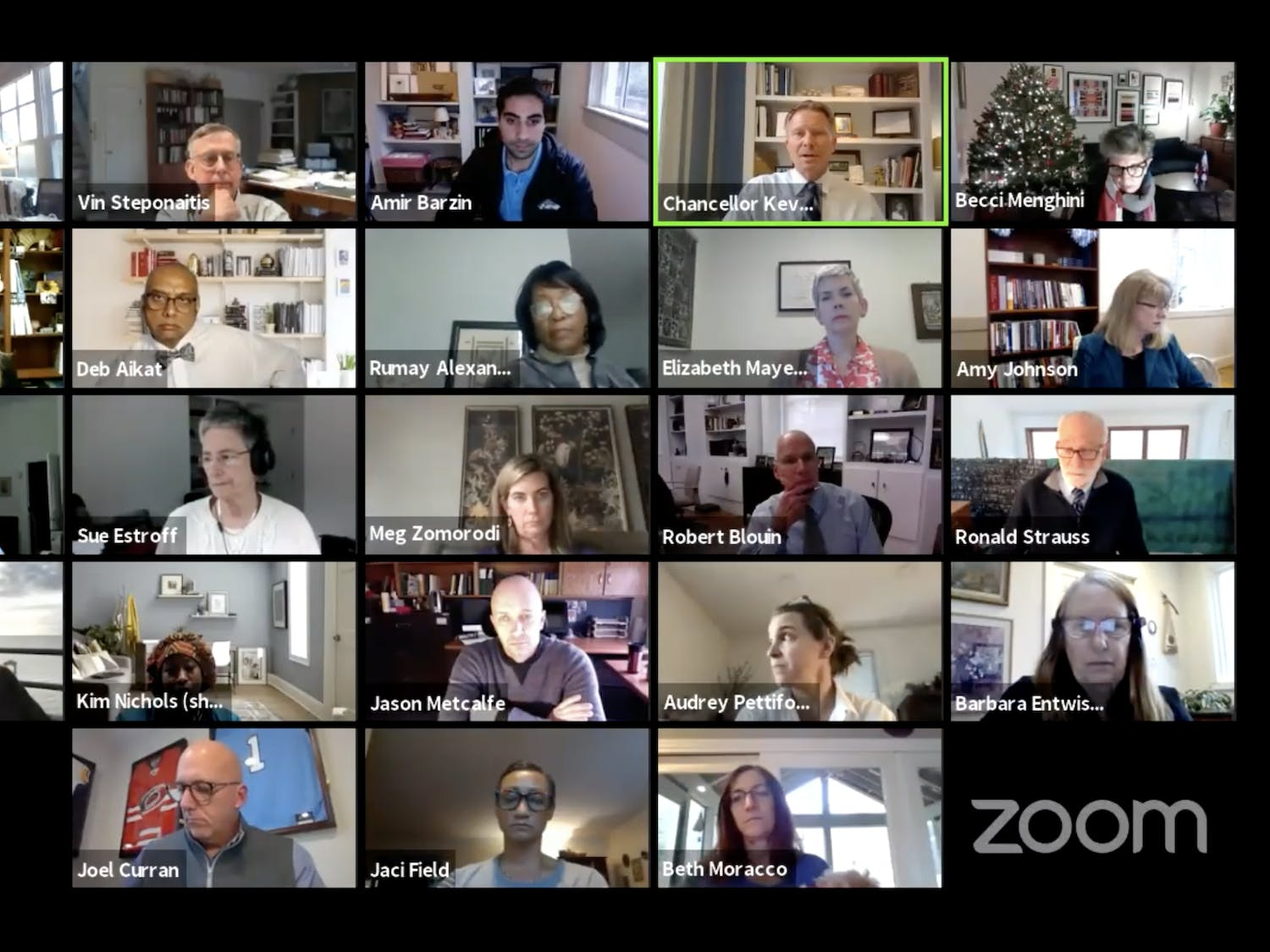 Screenshot from the Faculty Council and Employee Forum meeting on Friday, Dec. 4, 2020.