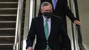 Sen. Richard Burr, R-N.C., walks through the Senate subway at the conclusion of former President Donald Trump's second impeachment trial on Saturday, Feb. 13, 2021, in Washington, D.C. The Senate voted, 57-43, to acquit Trump, with Burr and six other Republicans voting to convict the former president. Photo courtesy of Samuel Corum/Getty Images/TNS.