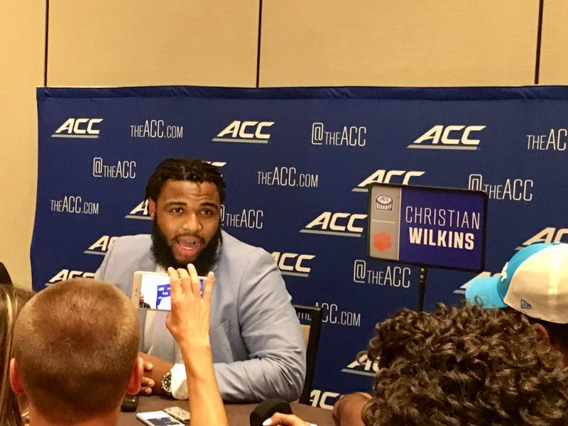 Clemson defensive tackle Christian Wilkins talks to the media at the ACC Football Kickoff in Charlotte on Thursday