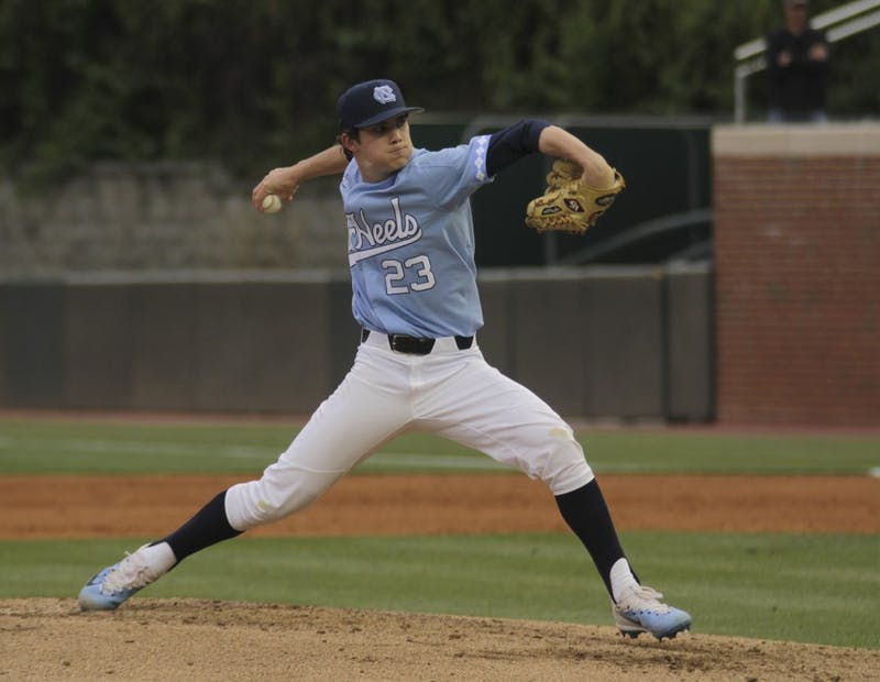Tyler Baum pitches against Liberty University on Tuesday night, April 18, 2017.