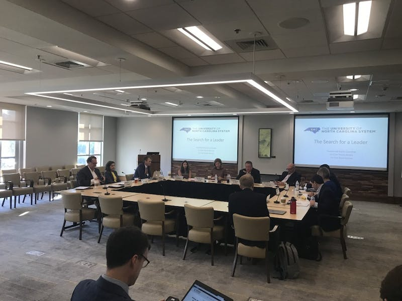 The UNC-System Presidential Search Committee met Thursday.
