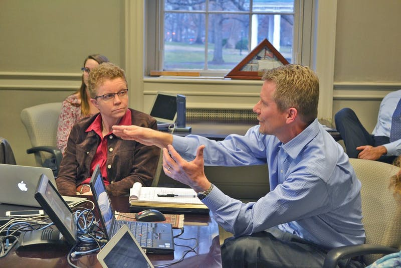 Kevin Guskiewicz, who works in the Department of Exercise and Sport Science, and Leslie Parise, who is a professor and chair of Biochemistry and Biophysics, led the Faculty Executive meeting on Monday afternoon in South Building.