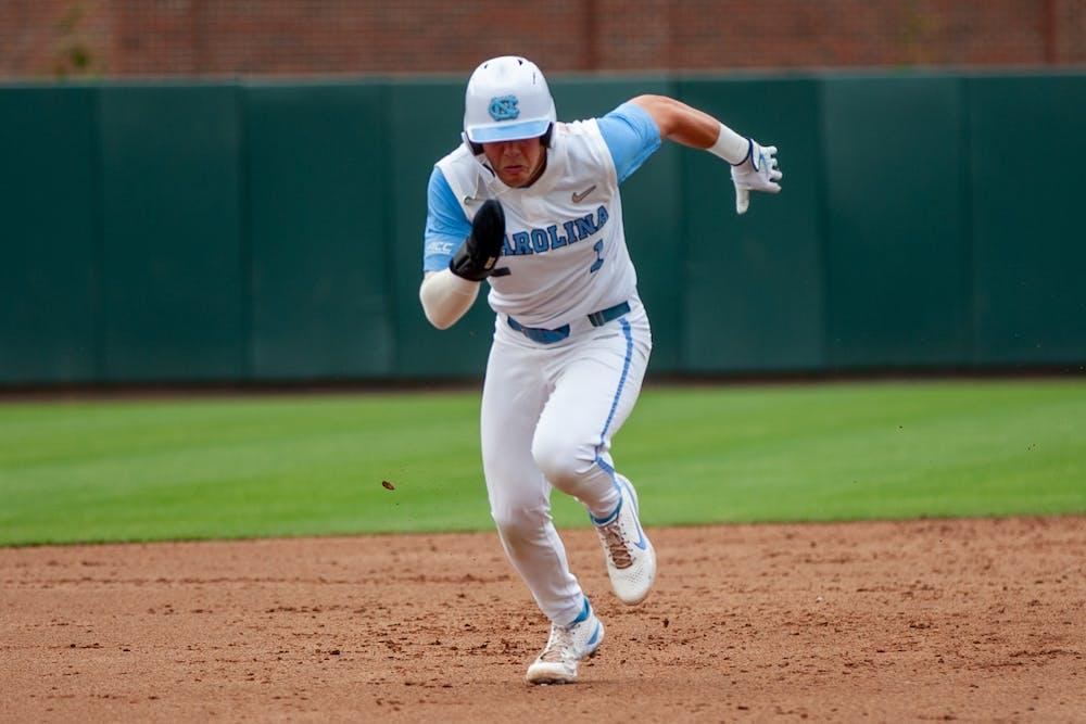 Sophomore shortstop Danny Serretti runs to third base at the game against Duke on Saturday Apr. 10 2021 at Boshamer Stadium. UNC lost 2-4.