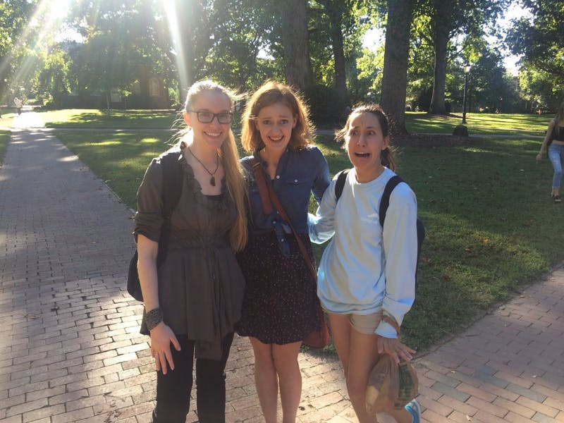 First-year law students (from left to right) Miranda Goot, Mackenzie Harmon and Haven Clark