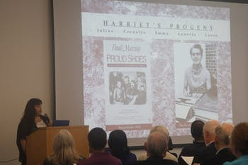 The Chapel Hill Historical Society hosted Kim Smith on Sunday, Feb. 19th, for a presentation on five Orange County African-American Families whose rich histories provide insight into how freed African American families lived in North Carolina after the Civil War. Smith has spent three years extensively researching these families, with heavy reliance upon Reverend Dr. Pauli Murray's memoir, Proud Shoes: The Story of an American Family.