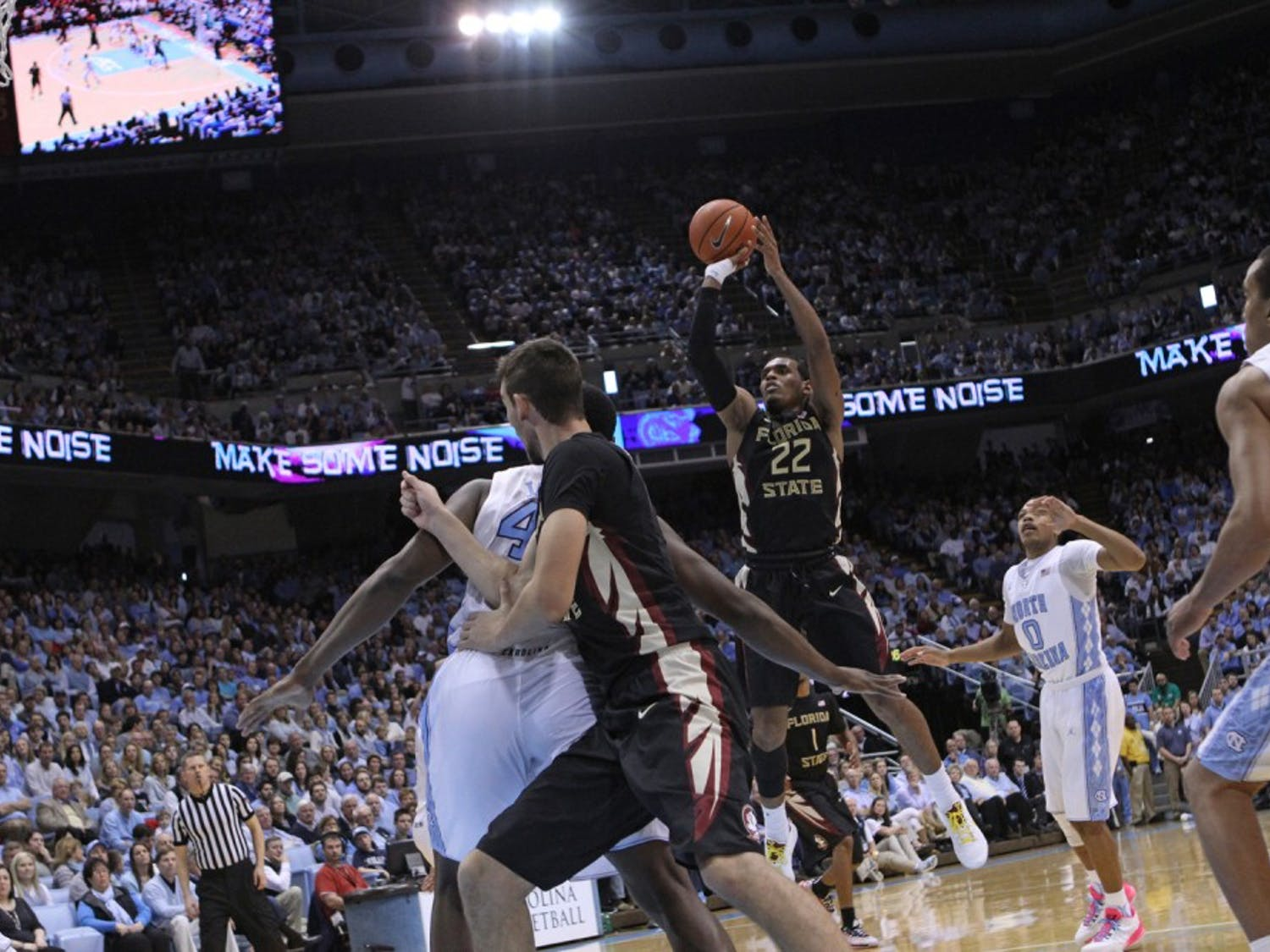 Florida State freshman guard Xavier Rathan-Mayes (22) had 35 points against the Tar Heels.
