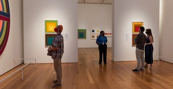 Museum visitors observe art in the North Carolina Museum of Art in Raleigh, N.C. Almost six months after closing due to COVID-19, NCMA is welcoming visitors back on Wednesday, Sept. 9, 2020 with new social distancing and safety guidelines. Photo courtesy of the North Carolina Museum of Art.