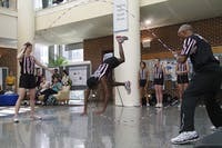 Lena Berry, 12, a member of the Bouncing Bulldogs jump rope demonstration team, performed in the Gillings School of Global Public Health on Wednesday.